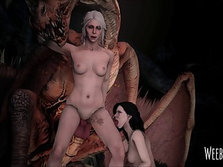 Ciri And Yennefer Had To Team Up In Order To Take Down The Royal Wyvern. (witcher 3) [weebstank]3D Bestiality